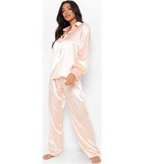 oversized satijnen pyjama set met top met ballonmouwen en broek, blush