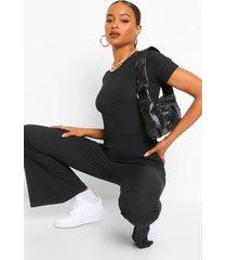 geribbelde jumpsuit met korsetstiksels detail en wijde pijpen, black