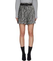 belted sequin zebra print roll up hem shorts
