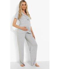 zwangerschap borstvoeding wikkel pyjama set met stippen, grey marl