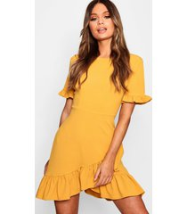 asymmetric ruffle hem shift dress, mustard