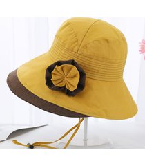 flor paño francés ala ancha sol pescador sombreros sombrero de verano mujer