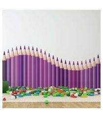 adesivo de parede quartinhos infantil lapis de cor onda lilás e roxo