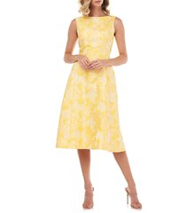 kay unger keegan sleeveless fit & flare midi dress, size 2 in bright yellow multi at nordstrom