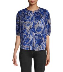 velvet women's floral cotton top - blue - size s