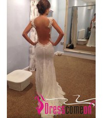 mermaid with straps open back backless bridal wedding dress summer beach gown