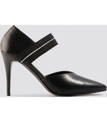na-kd shoes pointy strap pumps - black