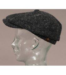 stetson wool hatteras flat cap - black 6840502-331