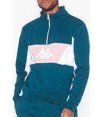kappa sweat zip, auth. 90 barte tröjor blå/vit