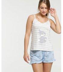 pijama disney estampa bambi alças finas feminino
