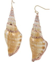 jessica simpson shell gold-tone drop earrings