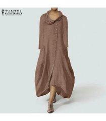 zanzea mujeres camisa con botones vestido asimétrico flojo irregular midi vestido más del tamaño -café