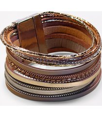 maurices womens tan multi row magnetic bracelet