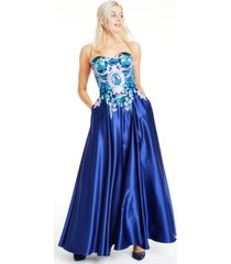 blondie nites juniors' floral-applique strapless gown