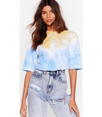 womens see eye to tie dye relaxed tee - blue