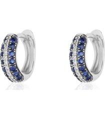 orecchini a cerchio in oro bianco con zaffiri 0,448 ct e diamanti 0,064 ct per donna