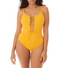skinny dippers women's suga babe one-piece swimsuit - marigold - size s