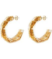 'nugget' flake resin hoop earrings
