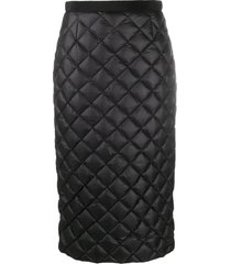 moncler feather-down quilted pencil skirt - black