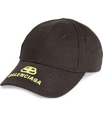 women's balenciaga logo baseball cap - black