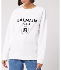 balmain women's flocked logo sweatshirt - white - xs