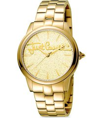 glam chic mohair goldtone stainless steel watch