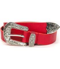 cinturon hebilla y punta rojo guinda