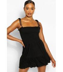 geplooide strand jurk met bandjes, zwart