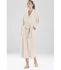 natori plush jacquard geo sleep & lounge bath wrap robe, women's, size l natori