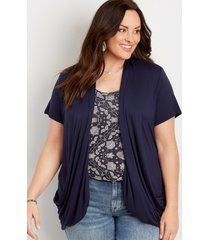 maurices plus size womens blue short sleeve slouchy pocket cardigan