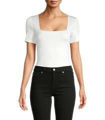 alice + olivia by stacey bendet women's squareneck short-sleeves bodysuit - off white - size xl