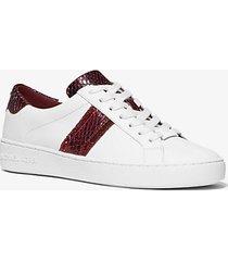 mk sneaker irving in pelle con righe in stampa pitone - dark berry - michael kors