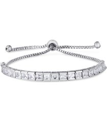 cubic zirconia rounds adjustable slider bolo bracelet in fine silver plate