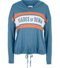 maglia a maniche lunghe con cappuccio (blu) - john baner jeanswear
