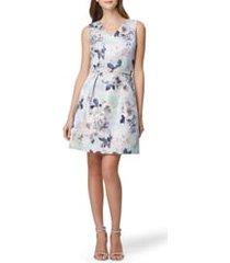 women's tahari sleeveless floral jacquard fit & flare dress