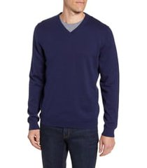 men's big & tall nordstrom men's shop cotton & cashmere v-neck sweater, size lt - blue
