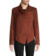 faux suede wrap jacket