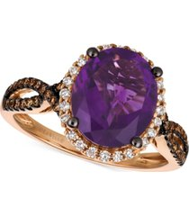le vian chocolatier grape amethyst (2-3/4 ct. t.w.) and diamond (3/8 ct. t.w.) ring in 14k rose gold