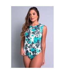 body camiseta collant cavado suplex estampado feminino
