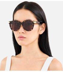 bottega veneta women's round tortoiseshell acetate sunglasses - havana/brown