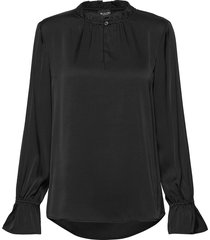 satin stretch - raya f sleeve blouse lange mouwen zwart sand