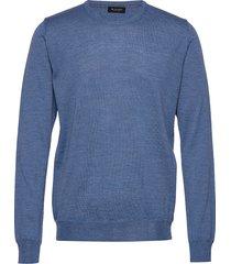 cool wool - iq gebreide trui met ronde kraag blauw sand