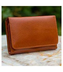 leather trifold wallet, 'infinite brown' (thailand)