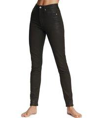 rag & bone women's nina high-rise coated skinny jeans - black - size 32 (12)