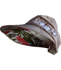 chapéu viseira artestore estampa floral bege