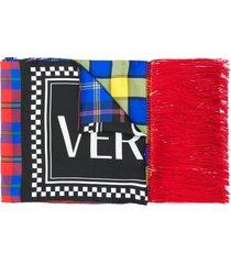 versace tartan vintage logo scarf - blue