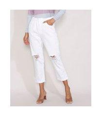 calça de sarja feminina mom cropped cintura super alta destroyed branca