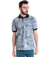 camisa polo masculina manga curta 33602 azul claro