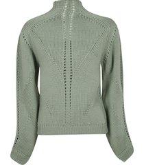 alberta ferretti perforated knit sweater