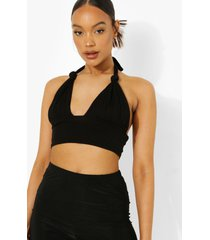 geknoopte top met halter neck, black